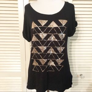 Apt.9 | 🌺 Black Blouse w/ Gold Sequined Triangles